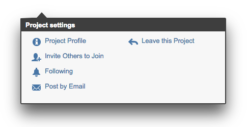 Project email menu